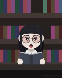 Bookworm Girl by tiquiajomari