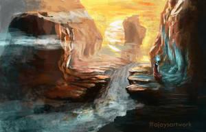 Wanderlust - Sunrise cliffs by ajaysartwork