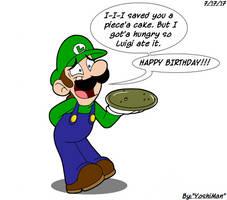 Luigi Ate your Cake by YoshiMan1118