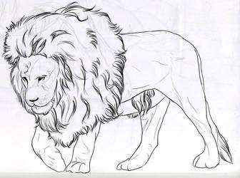 Astaldo the Lion (Lineart) by Phoenixtsubasa