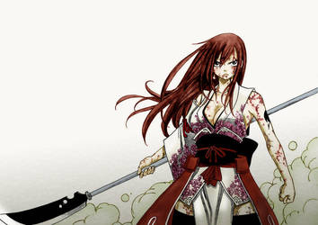 Erza with naginata: color by antonique