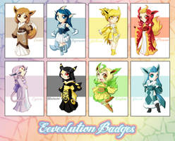.:Eeveelution Badges:. by MegzieSassypants
