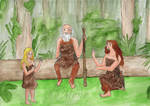 Ayla, Creb and Iza in the forest by mene