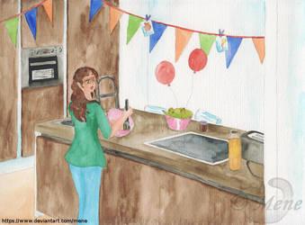Kharma DuMont making a birthday cake by mene