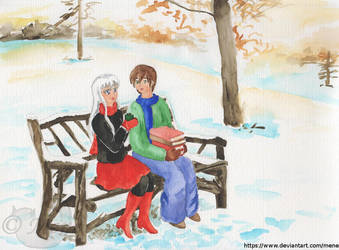 Nika and Clover in a park in the winter by mene