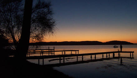 Sunset by lake by sam666
