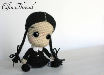 Wednesday Addams Chibi Crochet Doll by ElfinThread