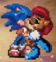 Sonic Sally Kissing BeadSprite by SerenaAzureth