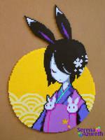 Geisha Rabbit on the Moon by SerenaAzureth