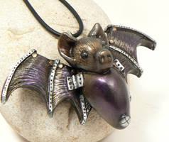 steampunk bat pendant by DesertRubble