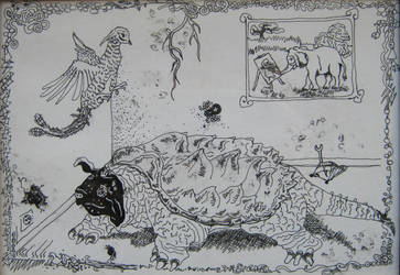 the turtle, the pheasant and the two spiders by FlyingSwede