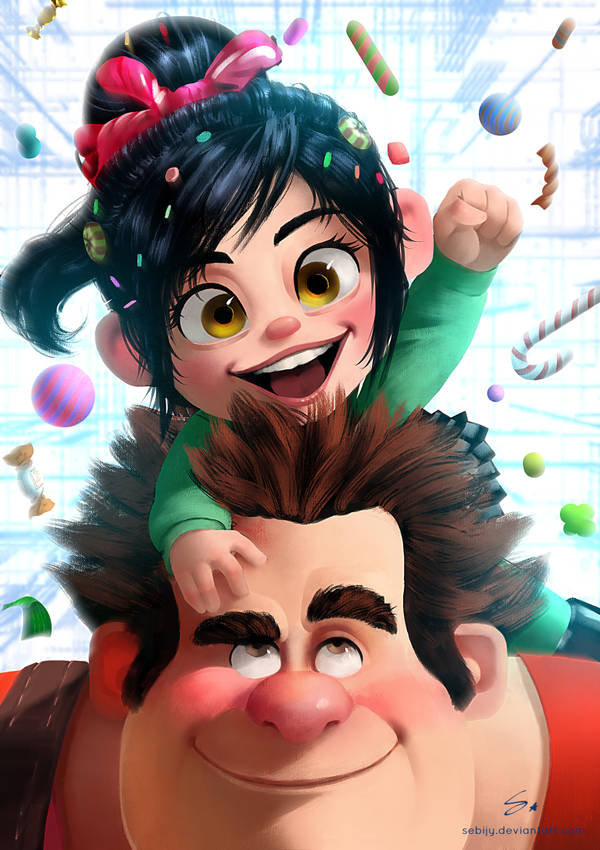 Vanellope and Ralph ( Wreck it Ralph ) by Sebijy