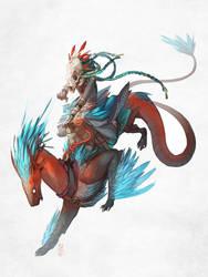 Weaselraptor and his rider by Gevoel