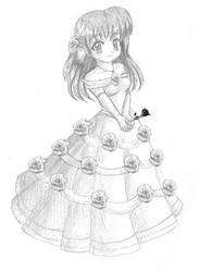 Blue Rose Gown: Sketch by Hero-of-Awesome