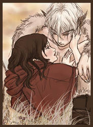 red riding hood and white wolf by sorceressmyr