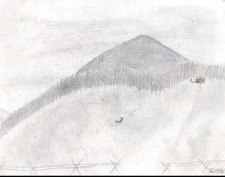 Pencil Sketch: Mountain Scene by dundermifflin92