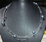 Black pearl, bead necklace by inchworm