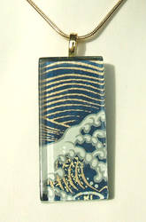 Japanese wave glass pendant by inchworm