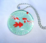 Aqua koi tile glass pendant by inchworm