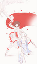rwby: Ruby and Weiss by piketta