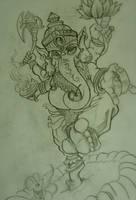 Ganesh tattoo sketch by chrisxart