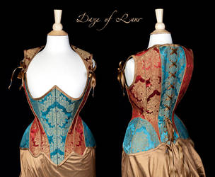 Teal and Red Highbacked corset by Cuddlyparrot