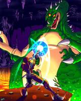 Samus VS. Kraid by AzureBladeXIII