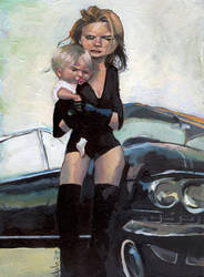 Chica sobre coche negro by julepe