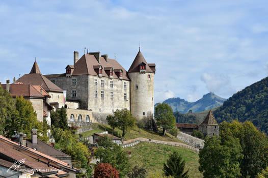 Chateau de Gruyeres, Vue Sud-Ouest by LePtitSuisse1912