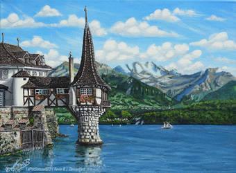 La Tourelle du Lac d'Oberhofen Sur la Toile by LePtitSuisse1912