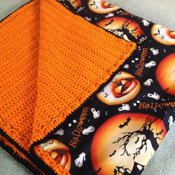 Halloween Crochet Blanket Reversible Fabric Throw by Dragon620026