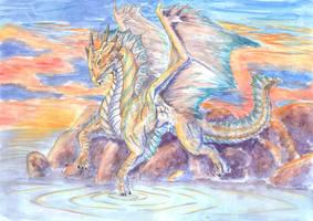 Thoughtful Bronze Dragon by DibujameUnCordero