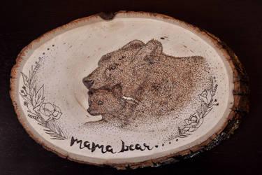 MAMA BEAR AND CUB WOOD BURNING by aashler
