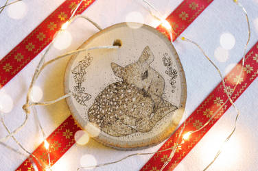 DEER WOOD BURNING CHRISTMAS ORNAMENT by aashler