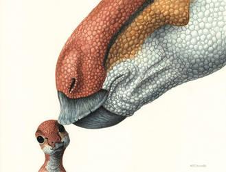 Maiasaura mom and baby by EsthervanHulsen