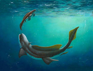 Orthacanthus and Xenacanthus by EsthervanHulsen