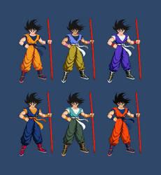 Goku - Color Variants - (extreme butoden) by DivineSprites