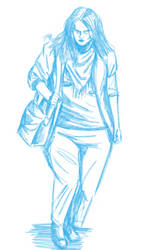Daily Sketch: Leaving a Long Day by Hunchy