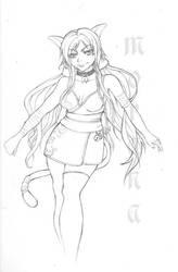 Catgirl-lineart by morana-sama
