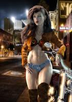 Biker Chic Smoking by supersolidusnake