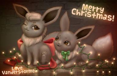 Christmas Eevees! Merry Christmas! by Vanderstorme