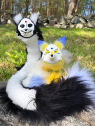 Custom Life and Death Pipe Fox Spirits by felineflames