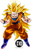 Goku SSJ3 DBZ Dokkan Battle Render by BillyZar