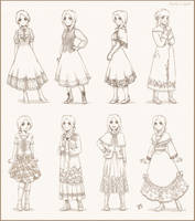 Auries dress sketches by meago