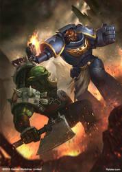 Warhammer - Space Marine vs. Ork by rafater
