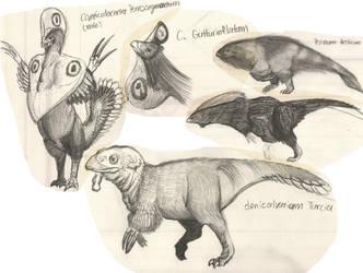 Tarkaria: Cryptotrophic Therizinosaurs by vcubestudios