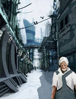 Speedpaint Scifi town by Pymous