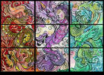 three dragons ACEO collection by jupiterjenny