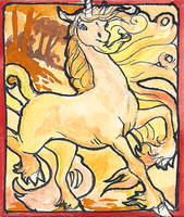 golden unicorn ACEO by jupiterjenny