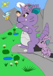 Nidoran male's family (and me) by toadeu
